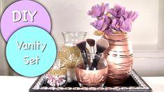 DIY Vanity & Makeup Storage Set! DIY Makeup Brush Holder & 4 Glam Jars, via YouTube.