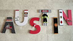 NEW Fire Truck Fire Fighter Wall Letters by BearySpecialScrappin