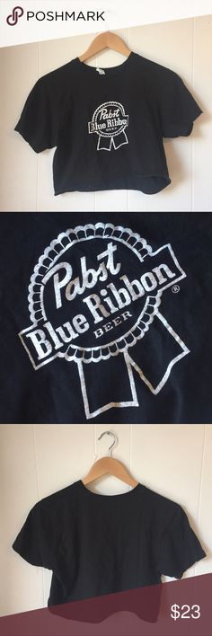 Small Vintage Black Pabst Blue Ribbon Crop Top Perfectly Worn & Soft Vintage Tops