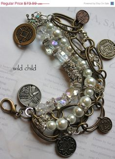 Items similar to bracelet wild child vintage pearl chunky chain coin chunky bold charm bracelet on Etsy