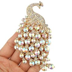 """Gorgeous 4.2"""" Large Peacock Brooch Pin Austrian Crystal Clear AB Gold Tone"""