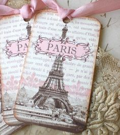 Paris Tags, Pink - French Tags - Eiffel Tower Tags - Paris 1889 Exposition - Set of 6