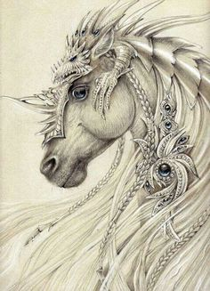 Elven Horse ~by Anwaraidd Nahar The dragon on top is awesome armor! Magical Creatures, Fantasy Creatures, Fantasy Kunst, Fantasy Art, Unicorn Fantasy, Unicorn Horse, Horse Drawings, Art Drawings, Pencil Drawings