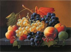 Still Life of Fruit on a Marble Tabletop by Severin Roesen #art