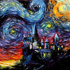 Castle Starry Night print van Gogh Never Saw Hogwarts by Aja mansion fantasy wizard magic choose size and type of paper Harry Potter Art Hogwarts Castle Starry Night print van Gogh Harry Potter Kunst, Arte Do Harry Potter, Harry Potter Painting, Images Harry Potter, Harry Potter Artwork, Hogwarts, Fantasy Wizard, Fantasy Art, Pintura Do Harry Potter