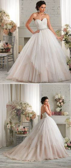 What do you think of this blush wedding gown with a handkerchief layered tulle skirt ‪from Bonny Bridal #‎yaynaythedress‬