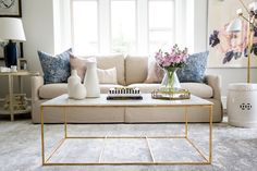 Pillow Mix and Gold Coffee Table || Studio McGee