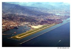 GOA - Genoa Cristoforo Colombo Airport, Genoa, Italy is built on an artificial peninsula. Toronto Airport, Indigenous Peoples Day, Genoa Italy, Airport Design, Oxford Circus, Aeroplanes, Jets, Airplane View, Places Ive Been