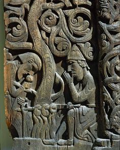 Wood panel from a church in Setesdal, Norway (12th century CE). On display at Oldsaksammlung, Oslo.