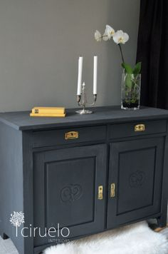 Sharp Looking Sideboard in Graphite Chalk Paint® decorative paint by Annie Sloan  by Ciruelo Interiors