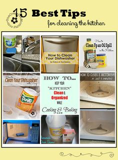 15 Best Cleaning Tips for the Kitchen {OneCreativeMommy.com} #cleaningtips #kitchen