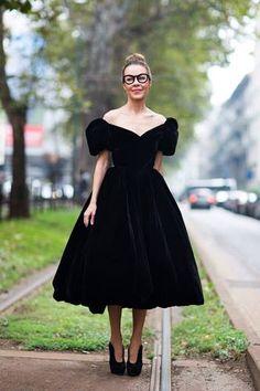 Black is never boring. Full velvet dress and cateye glasses.