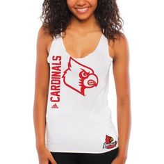 adidas Louisville Cardinals Ladies Letter-Banded Tank Top - White