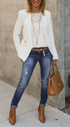 #street+#style+white+lace+top+++blazer+and+skinny+jeans+combination