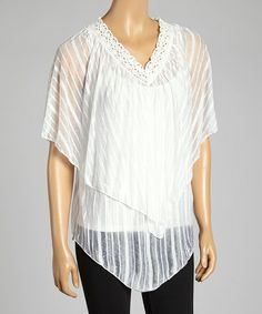 Look what I found on #zulily! White V-Neck Cape-Sleeve Tunic - Women by Shoreline #zulilyfinds