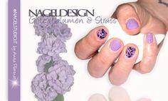 UV Permanent Nagellack Shellac Nageldesign Nailart flieder glitzerblumen