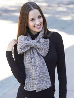 Bow Scarf | Yarn | Free Knitting Patterns | Crochet Patterns | Yarnspirations Bernat