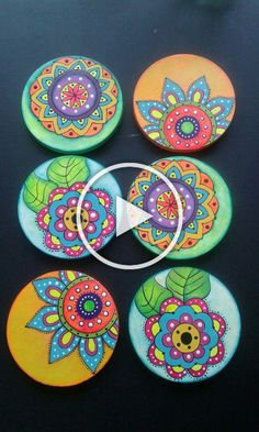 Best 11 6 x hand painted bamboo coasters with stand Dot Painting, Ceramic Painting, Stone Painting, Painting On Wood, Painted Bamboo, Painted Rocks, Hand Painted, Cd Crafts, Arts And Crafts