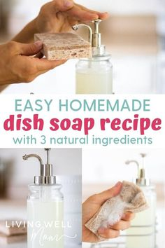 Easy Grease-Cutting Homemade Dish Soap with 3 Ingredients - Living Well Mom - Easy DIY dish soap that cuts grease like Dawn using natural ingredients including essential oils, plus it's economical and saves money! Diy Home Cleaning, Cleaning Recipes, Cleaning Tips, Green Cleaning, Homemade Dish Soap, Diy Dish Soap Castile, Castile Soap Recipes, Grease, Dishwasher Soap