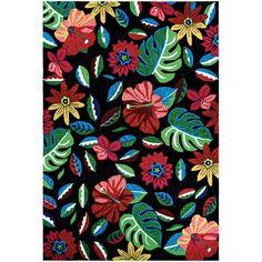 Willamette Hand-Woven Black/Green/Red Indoor/Outdoor Area Rug