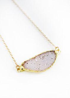 sideways DRUZY necklace  quartz by keijewelry on Etsy, $59.00