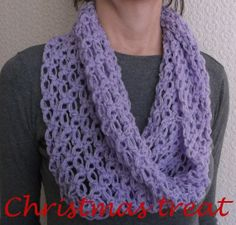 Christmas Treat - Shoulder Warmer, Lace Lavender Infinity Scarf, Crochet, Chunky Cowl Scarf