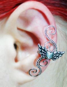Silver Heart With Angel Wings Ear Cuff - LEFT EAR | Luulla