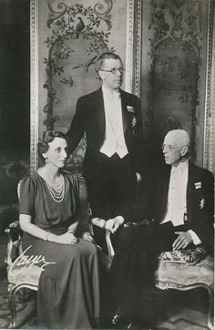 Crown Princess Louise and Crown Prince Gustaf Adolf of Sweden with Gustaf Adolf's father, King Gustaf V.