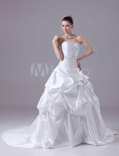 Backless Wedding Dress Ball Gown Sweatheart Pleated Sash Beading Satin Chaple Train Bridal Dress
