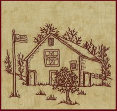 Quilt Barns Star Redwork Hand Embroidery by WellingtonHouseDesig