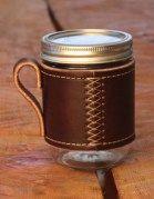 Holdster - Model o1: Cross-Stitch Leather  Canning Jar Sleeve/Holder