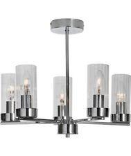 ART DECO STYLE Chrome Plate Metal Glass 5 Arm Flush Ceiling Light Chandelier NEW