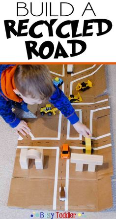 Recycled Road Imaginative Play: Build a simple recycled road as a fun indoor toddler activity.
