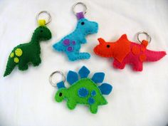 Handmade felt dinosaurs