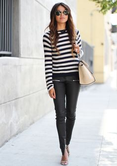 Skinny Leather Pants styled by Sincerely Jules.