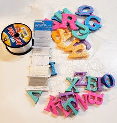 colorfully painted wooden alphabet letters - part 2 Mini Library, Little Library, Wooden Alphabet Letters, Small Hallways, Wax Paper, Book Nooks, Masking Tape, Paper Plates, Bunt