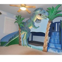 T-Rex Dinosaur Bunk Bed at LuxuryLamb. Shop for T-Rex Dinosaur Bunk Bed from Kids Furniture / Childrens Beds / Bunk Beds / Bunkbeds collection at affordable prices. Dinosaur Bedding, Dinosaur Bedroom, Kids Indoor Playhouse, Build A Playhouse, Castle Playhouse, Bunk Beds With Stairs, Kids Bunk Beds, Dinosaur Wall Decals, Ideas Hogar