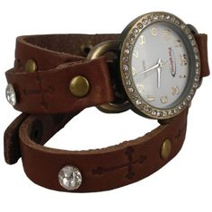 Extra Long Wrap Watch with Crystals on Brown Leather -- Want additional info? Click on the image.
