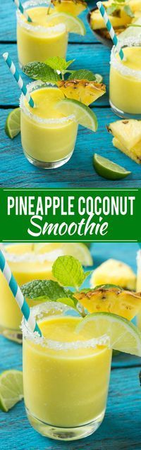 pineapple coconut smoothie recipe is a tropical fruit delight that's both healthy and refreshing.This pineapple coconut smoothie recipe is a tropical fruit delight that's both healthy and refreshing. Yummy Smoothies, Yummy Drinks, Healthy Drinks, Yummy Food, Healthy Recipes, Homemade Smoothies, Healthy Alcohol, Green Smoothies, Healthy Fruits