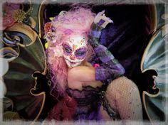 "Purple Muertos 8 1/2"" hand sculpted art doll - Cernit Doll Clay  Art Dolls by Vicci Noel"