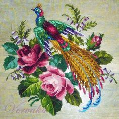 Vintage Needlepoint Picture Pheasant with Red Roses Gold gilded Frame Quilted Wall Hangings, Needlepoint Canvases, Crafty Craft, Crochet Flowers, Fiber Art, Red Roses, Cross Stitch Patterns, Needlework, Diy And Crafts