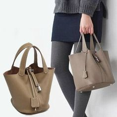 Women's Genuine Leather Bucket Bag Tote