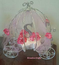 Cinderella Baby Shower Carriage Centerpiece.  Princess Baby Shower