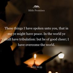 """I have told you these things, so that in me you may have peace. In this world you will have trouble. But take heart! I have overcome the world."""