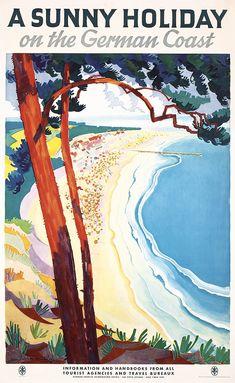 Original 1930s German Coast Beach Travel Poster Plakat
