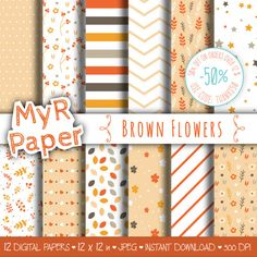 """Digital Paper: """"Brown Flowers"""" pack of backgrounds with floral, leaves, stars and hearts  50% OFF ON ORDERS OVER 12 $ (OR NEARLY 12 €) USE CODE: THANKS50  Hello And Welcome... #patterns #design #graphic #digitalpaper #scrapbooking #background"""