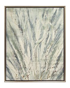 """John Richard 49""""W X 62""""H X 2""""D """"Jinlu"""" Ocean Grass 49""""Wx62""""Hx2""""D Ocean Grass. Original oil Ocean Grass by Jinlu is a playful attempt to silhouette the female form using natural elements in this figurative abstract set in an acid aged silver floater frame."""