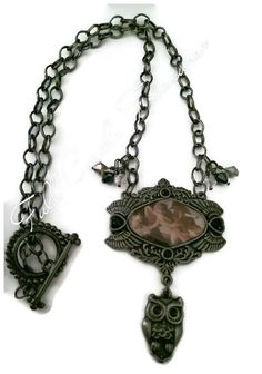 "Antiqued Guardian Angel necklace, gift fir her, confirmation, spiritual, original design, ooak 20"" Guardian Angel necklace with an owl charm"