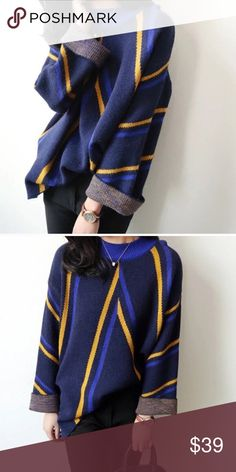 """Almost goneMulti color stripped sweater Material: acrylic. Measurement: one size - bust: 43.3"""", length: 22.8"""" sleeve Length: 16.9"""", shoulder to shoulder: 18.1 Sweaters"""