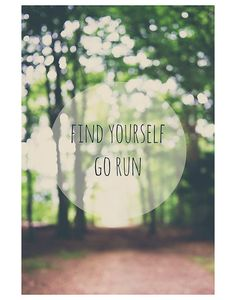 running, find yourself, woods, green, tree, color photo print - whimsical fine art landscape photography, nature, dream, inspirational quote on Etsy, $30.00